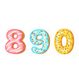 donut icing numbers digits - 8 9 0 font of vector image