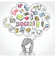 Doodle social media dreams and thoughts vector image vector image