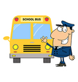 Driver Waving In Front of School Bus vector image vector image