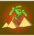 Egypt pyramids and palm trees pop art vector image