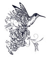elegant hummingbird with flowers and flourishes vector image vector image