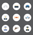 flat icons warning strip police car lawyer and vector image
