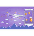 Flat web banner on the theme of travel by airplane vector image vector image
