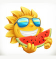 fun summer sun with watermelon 3d icon vector image vector image