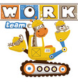 funny animals cartoon on heavy tools vector image