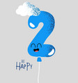 funny happy birthday gift card number 2 balloon vector image vector image