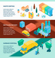 garbage recycling isometric banners vector image vector image