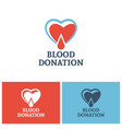 heart and drop blood logo concept donor foundation vector image vector image