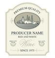 label for wine with european rural landscape vector image