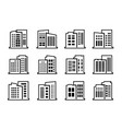 line company icons and black buildings set vector image vector image