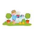 little boy lifting houseplant with fence and chick vector image