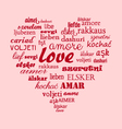 Love heart calligraphy word in all language vector image vector image