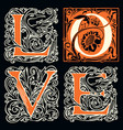 love lettering ornate letters in vintage style vector image vector image