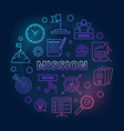 mission circular outline colored vector image vector image