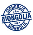mongolia blue round grunge stamp vector image vector image