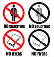 no soliciting and no flyers sign vector image vector image