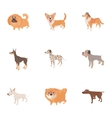 Pet dog icons set cartoon style vector image vector image
