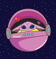 pink alien in flying capsule vector image vector image