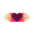 pixel love logo icon design vector image vector image