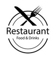 restaurant food drinks logo fork and knife backg vector image