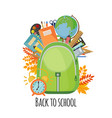 school bag with pens books and pencils vector image vector image