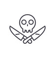 scull with knifes line icon sign vector image vector image
