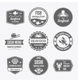 Seafood label set black vector image vector image