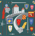seamless medieval pattern with castle knight vector image