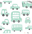 seamless pattern with hand drawn cute car vector image
