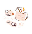 set archeology equipment icon with digging out vector image