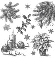 sketch of christmas decorations vector image