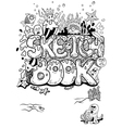 Sketchbook cover with doodles in vector image
