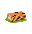 slice of layered cake quay lapis with prunes on vector image vector image