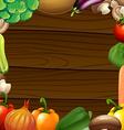 Vegetables border on wooden frame vector image