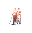 volunteer adult care blind help concept vector image vector image