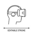 vr player side view linear icon vector image vector image