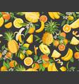 watercolor pineapple banana lemon mandarin vector image