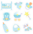 baby boy items icons vector image