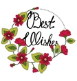 Best wishes lettering in floral frame vector image vector image