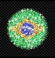 brazil flag sparkling badge vector image
