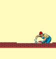 builder lays brick masonry below vector image