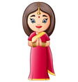 cartoon indian woman wearing traditional costumes vector image