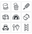 Chimney and heating coal icons set vector image vector image