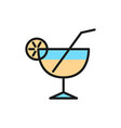 cocktail glass flat color line icon vector image