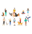 collection of people with pets isolated on white vector image vector image