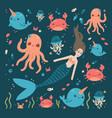 cute sea characters mermaid crab fish octopus vector image