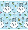 Cute seamless pattern with doodle rabbits and vector image vector image