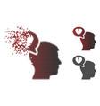damaged dot halftone divorce thinking man icon vector image vector image
