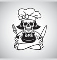 dead lady skull chef logo grinning fork knife vector image vector image