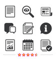 document icons file with chart and checkbox vector image vector image